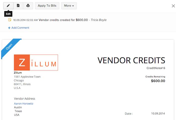 Editing a vendor credit