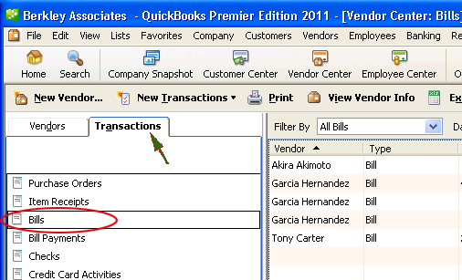 Export bills from QuickBooks