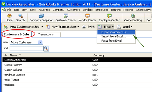 Export customer contacts from QuickBooks