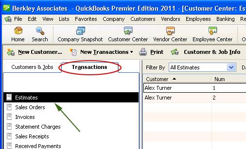Export estimates from QuickBooks