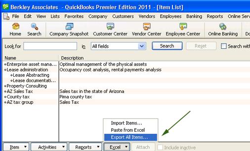 Export item lists from QuickBooks
