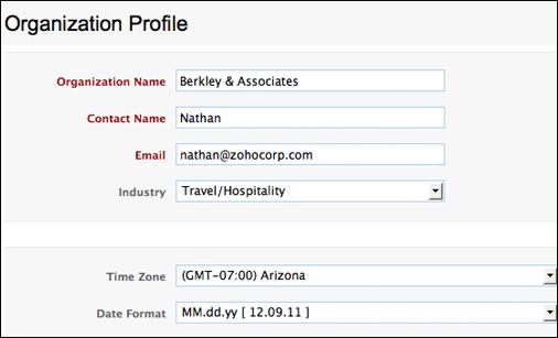 Organization profile in Zoho Books