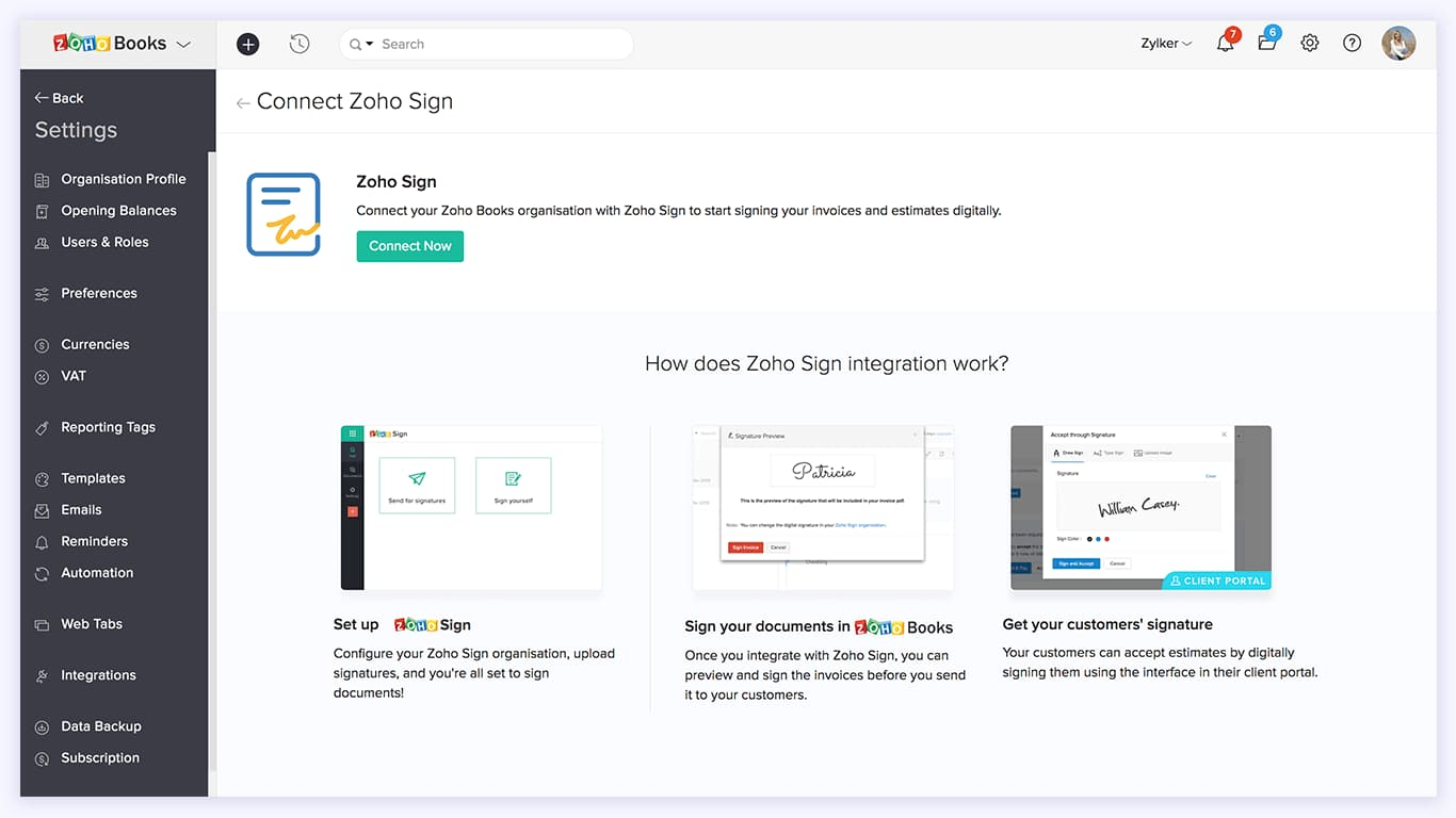 Connect Zoho Books with Zoho Sign - Zoho Sign integration | Zoho Books