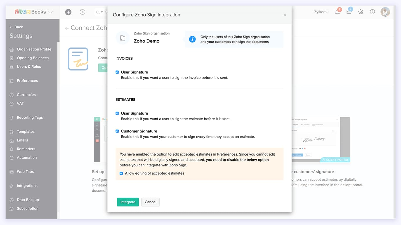 Configure your Zoho Sign integration | Zoho Books