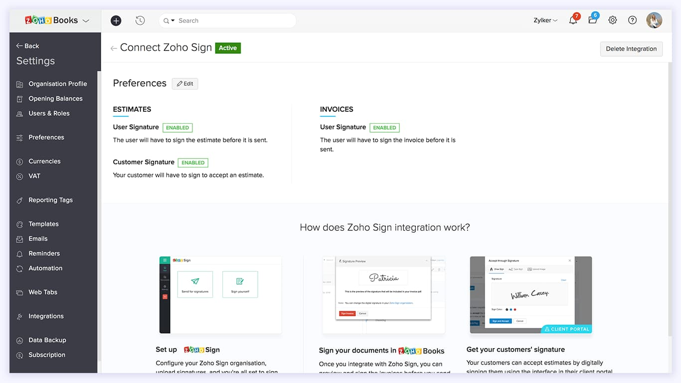 Check your Integration preferences - Zoho Sign Integration | Zoho Books