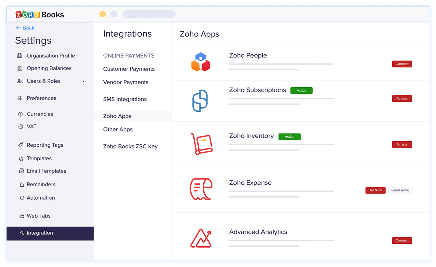 Setting up  - Zoho Subscriptions Integration | Zoho Books