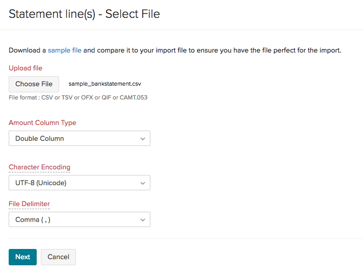 Select file type for importing