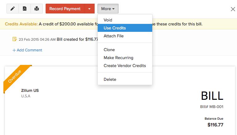 Apply Vendor Credits
