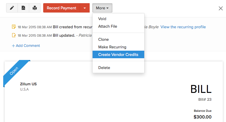 Create Vendor Credit