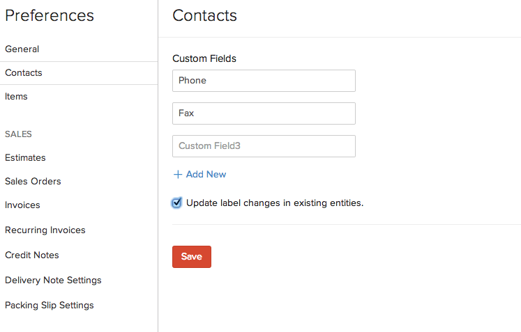 Custom fields for contacts