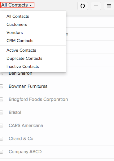 Sort and view your customers/vendors