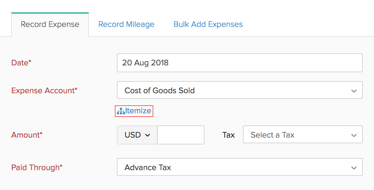 Itemize Expenses