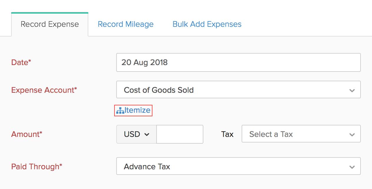 Itemize Expenses