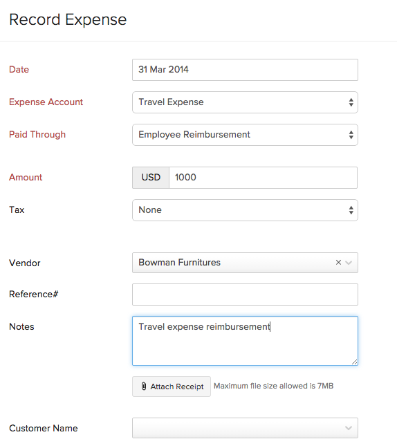 expense for recording reimbursement account