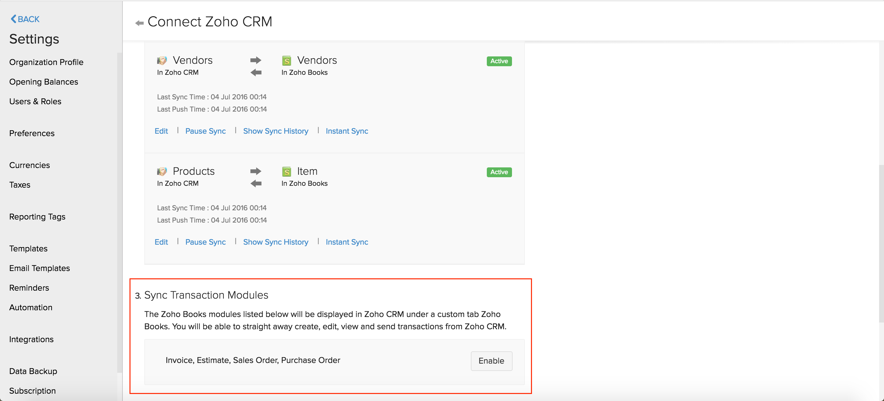 Zoho Books module in CRM