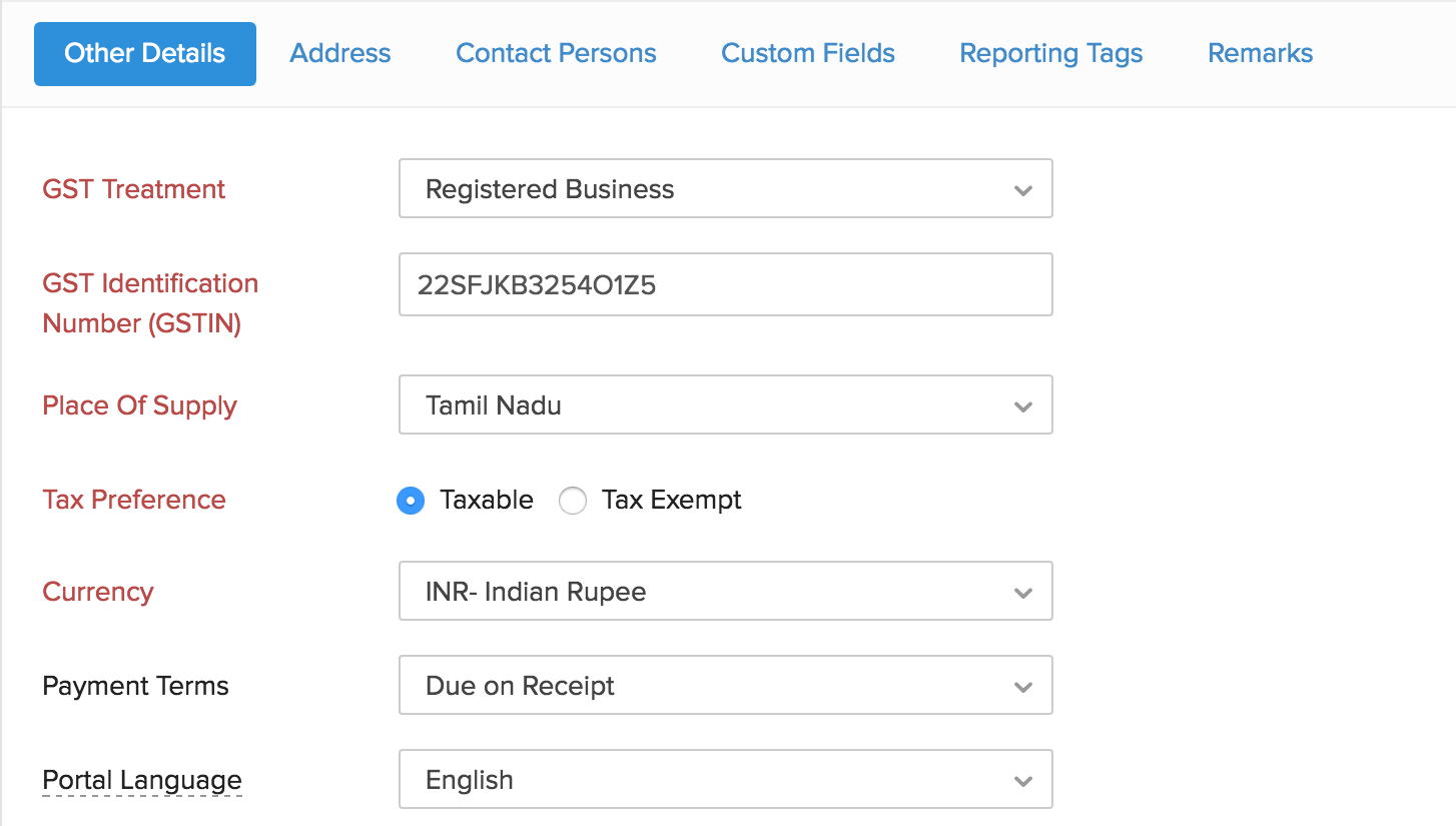 GST information in Contacts