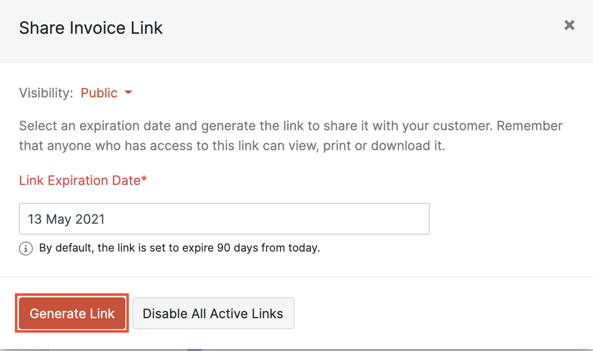 Generate share link for invocie.