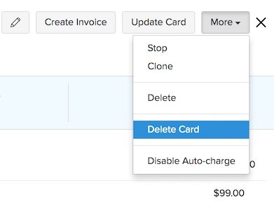 Delete Card in Recurring Invoice