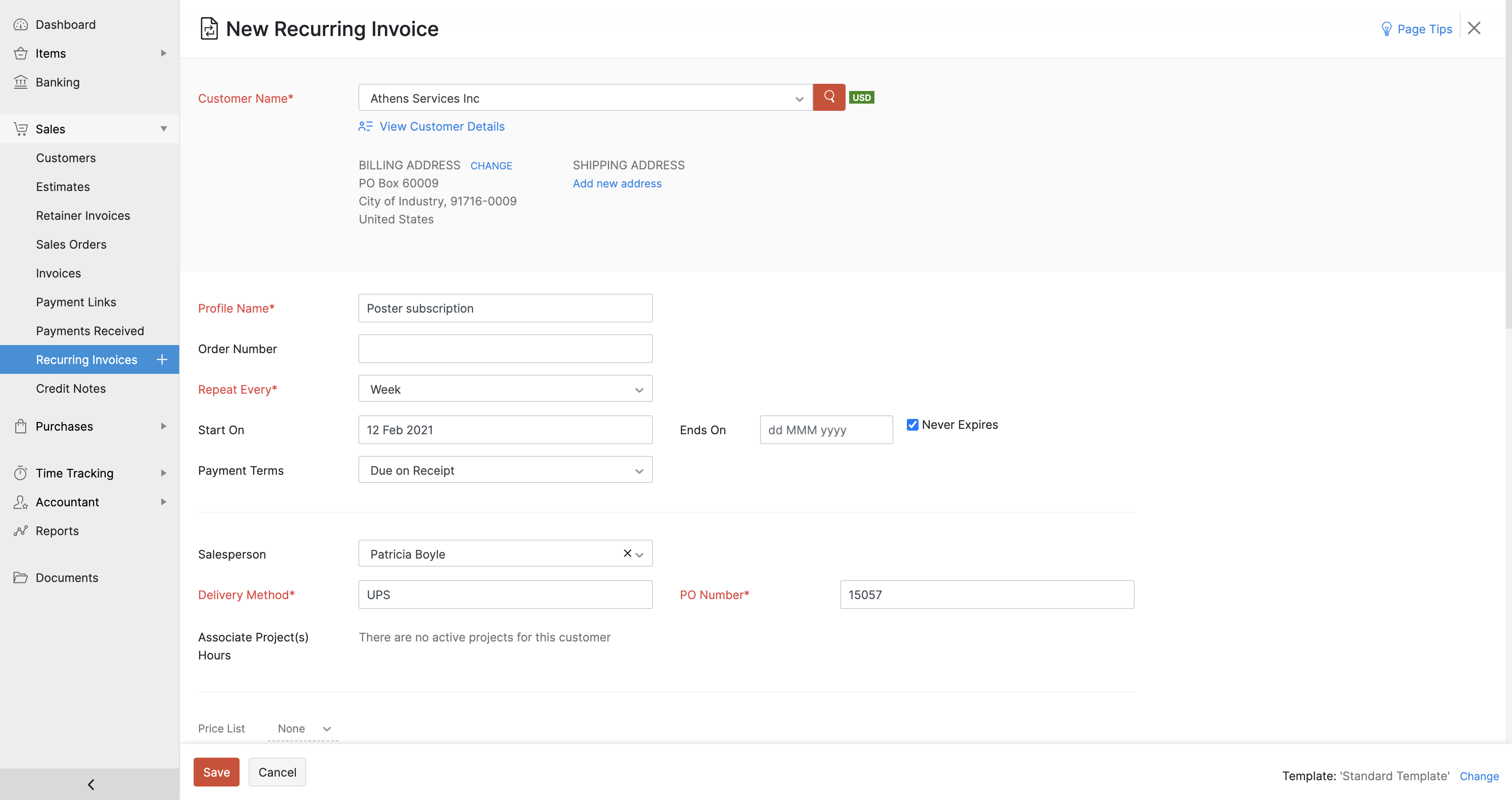 Create new recurring invoice