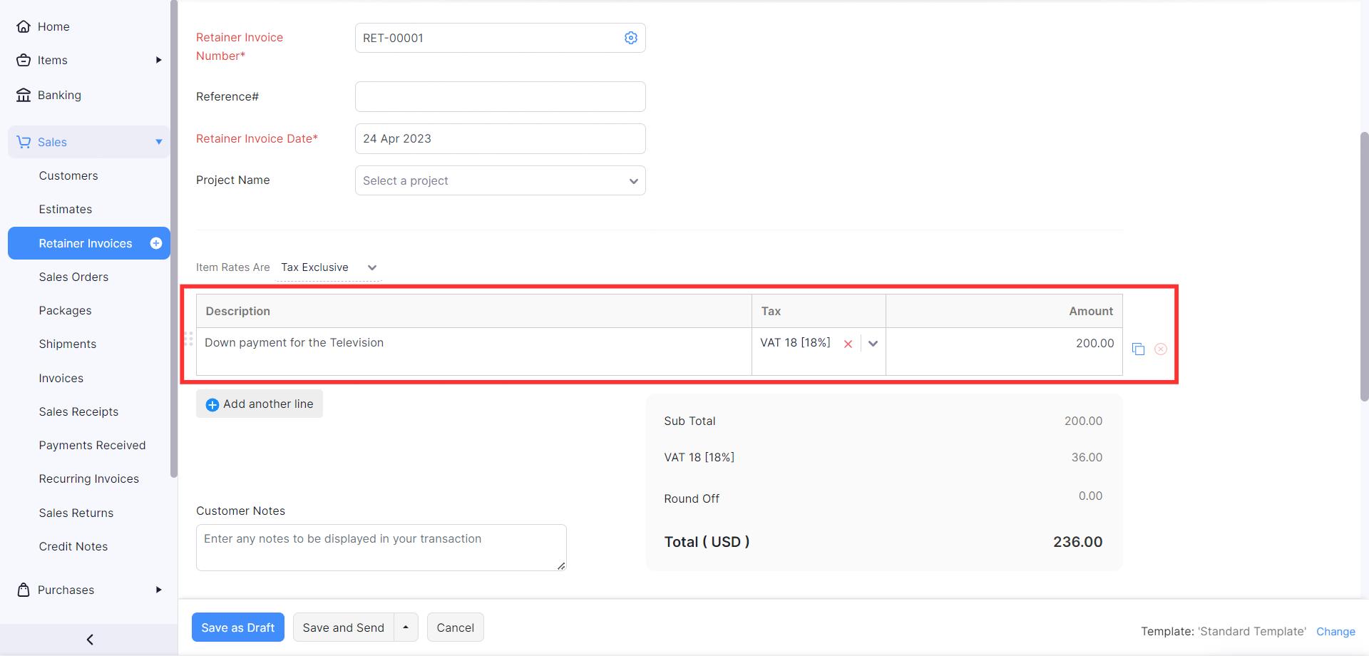 Create retainer invoice