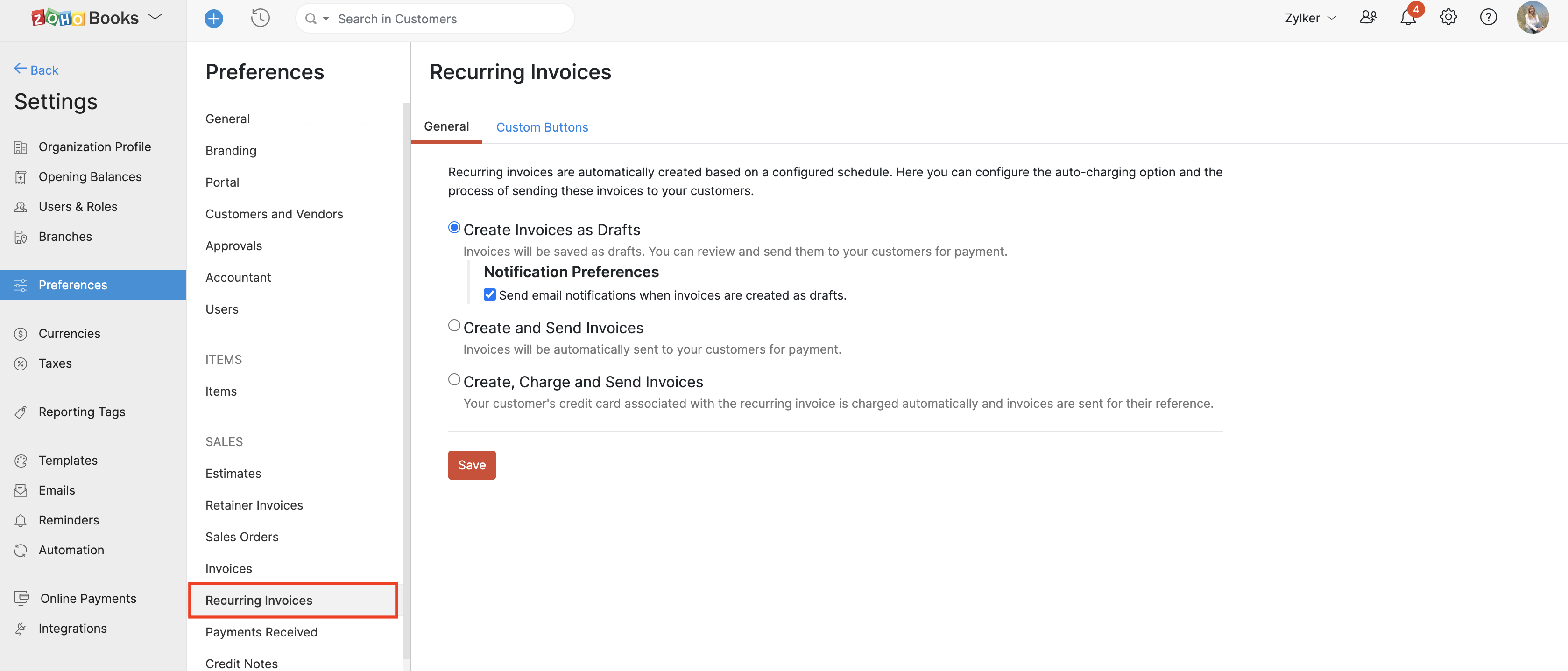 Configure how you send recurring invoices.