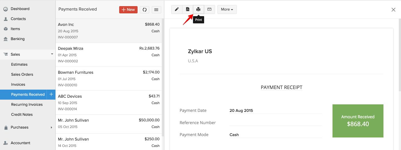 print payment receipt faq zoho books