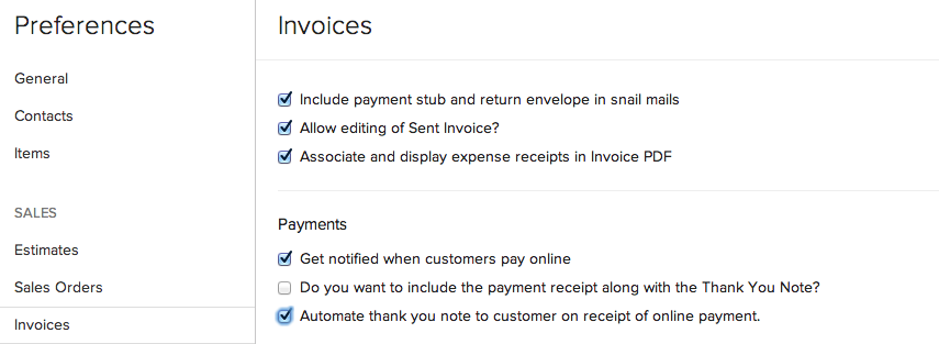 Enabling Automated Thank You Notes  Payment Received Receipt