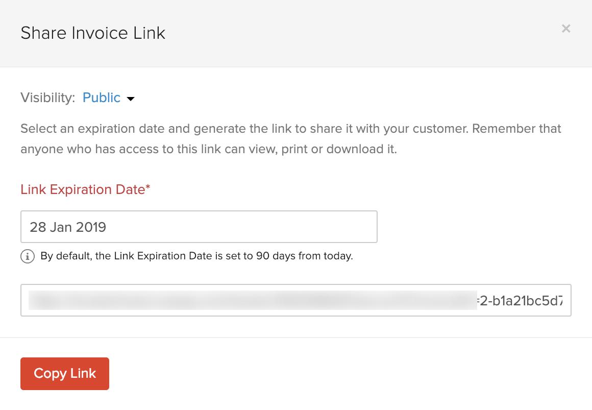 Copy Invoice Link