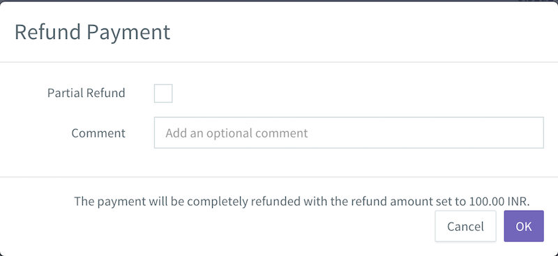 Refund payment dialog box