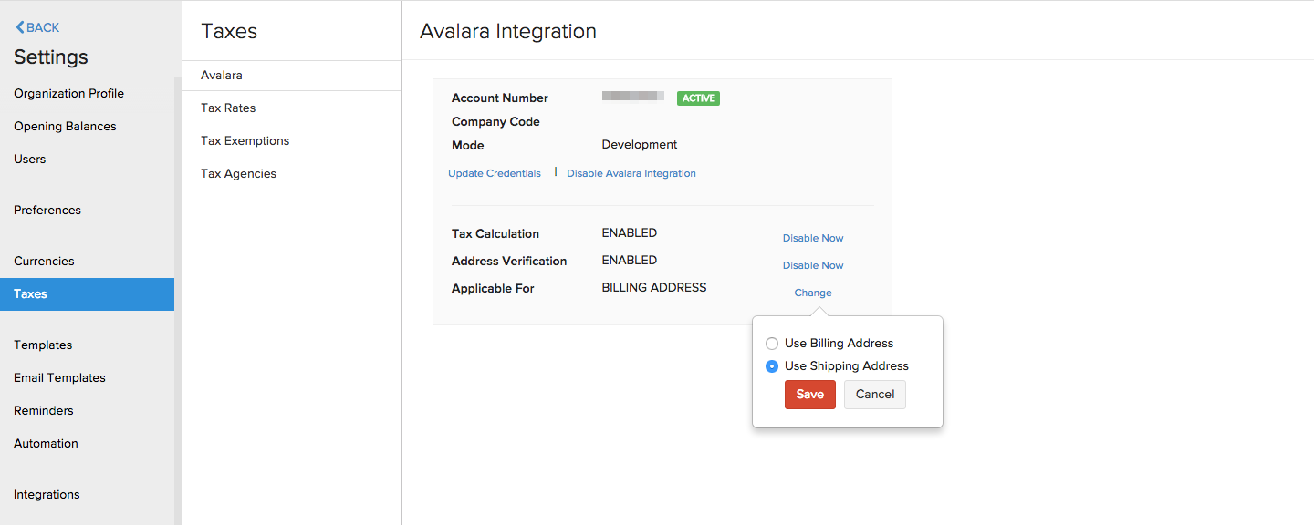 Change Address Avalara