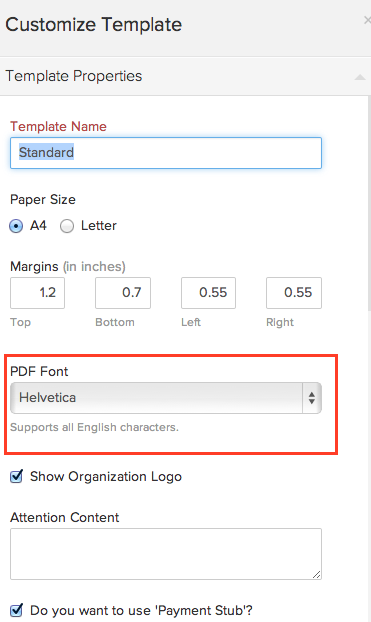 Change pdf font