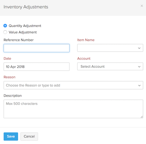 Make inventory adjustment