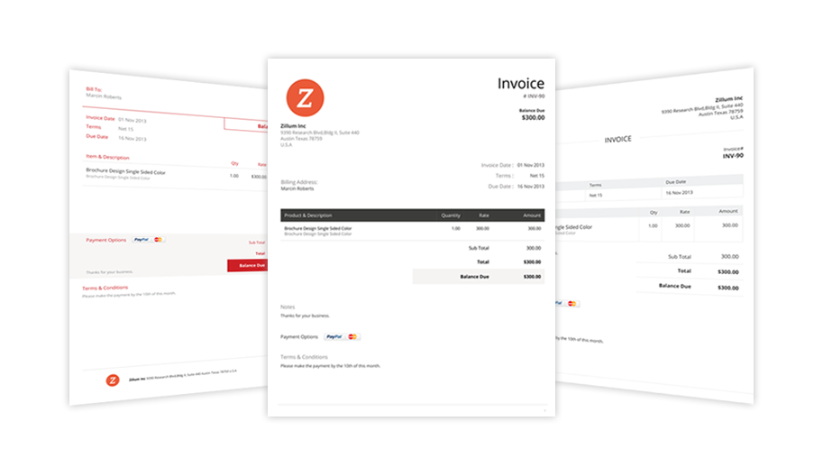 Customize Invoice Templates