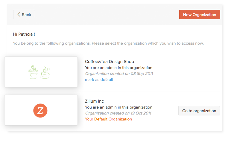 Manage multiple organizations
