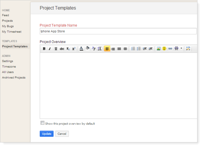 Edit project template