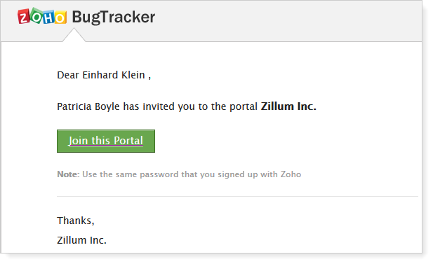 Welcome mail Portal user
