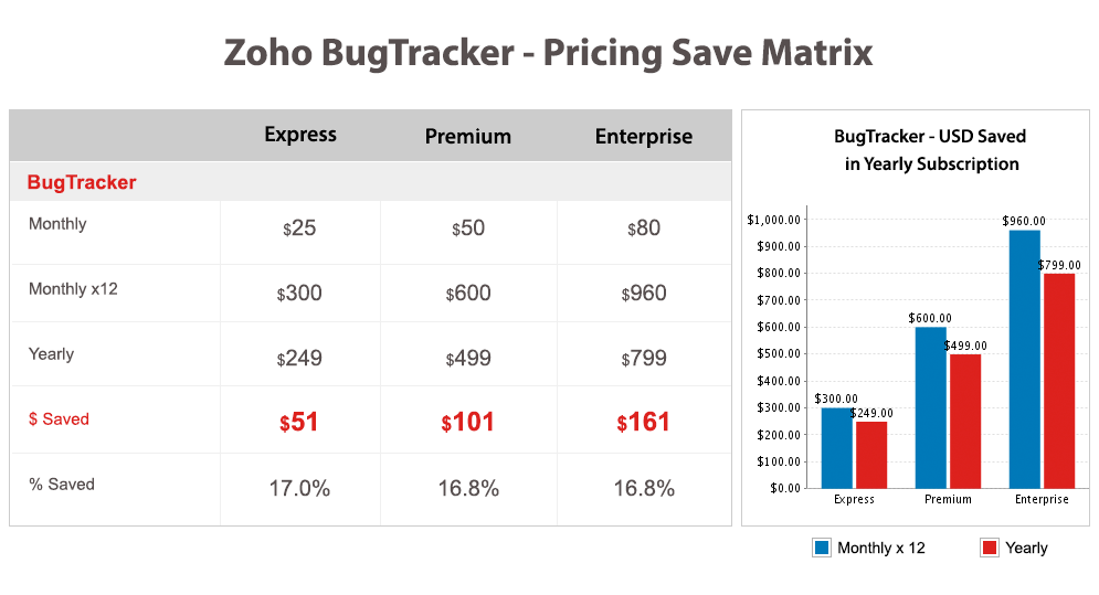 Zoho BugTracker - Pricing Save Matrix