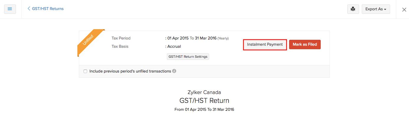Instalment payment button