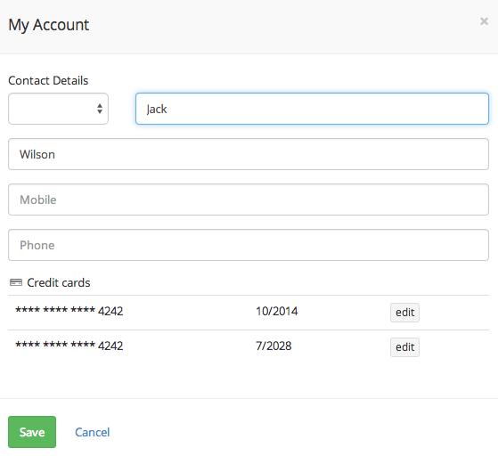 Client's account details
