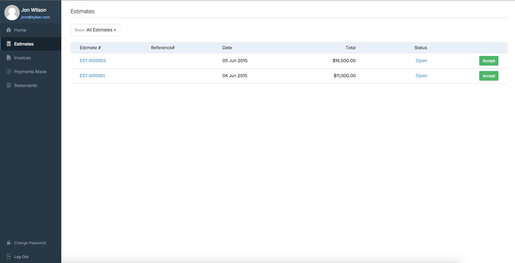 Accepting Estimate in client portal