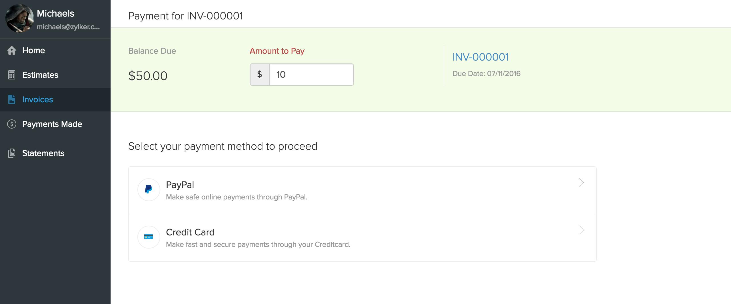 Payment Gateway screen