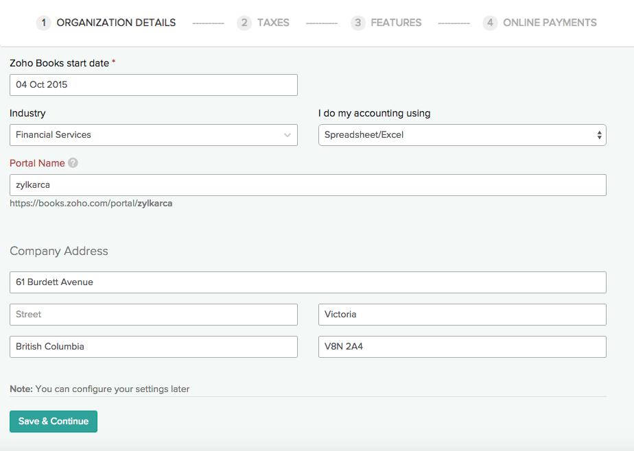 Quick Setup Org profile