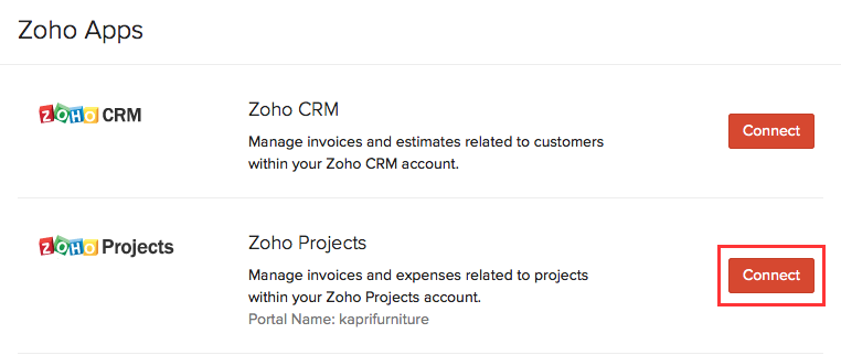 Connect with Zoho Projects