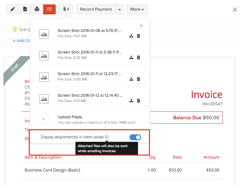 Attaching a File in Invoice