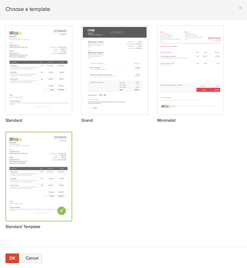 Invoices help document for Zoho creator templates