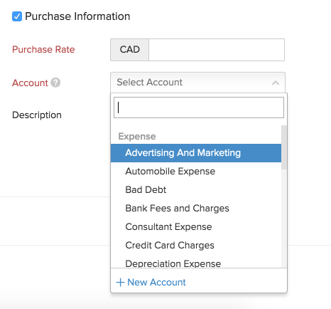 Adding a Purchase Account