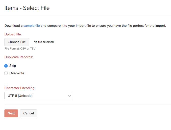 Item Import - Select file