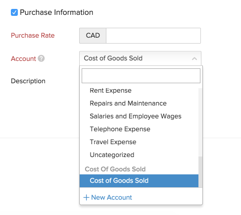 New Item - Purchase Order