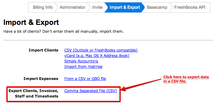 FreshBooks Export Page
