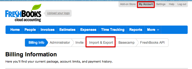 FreshBooks Import Export Page